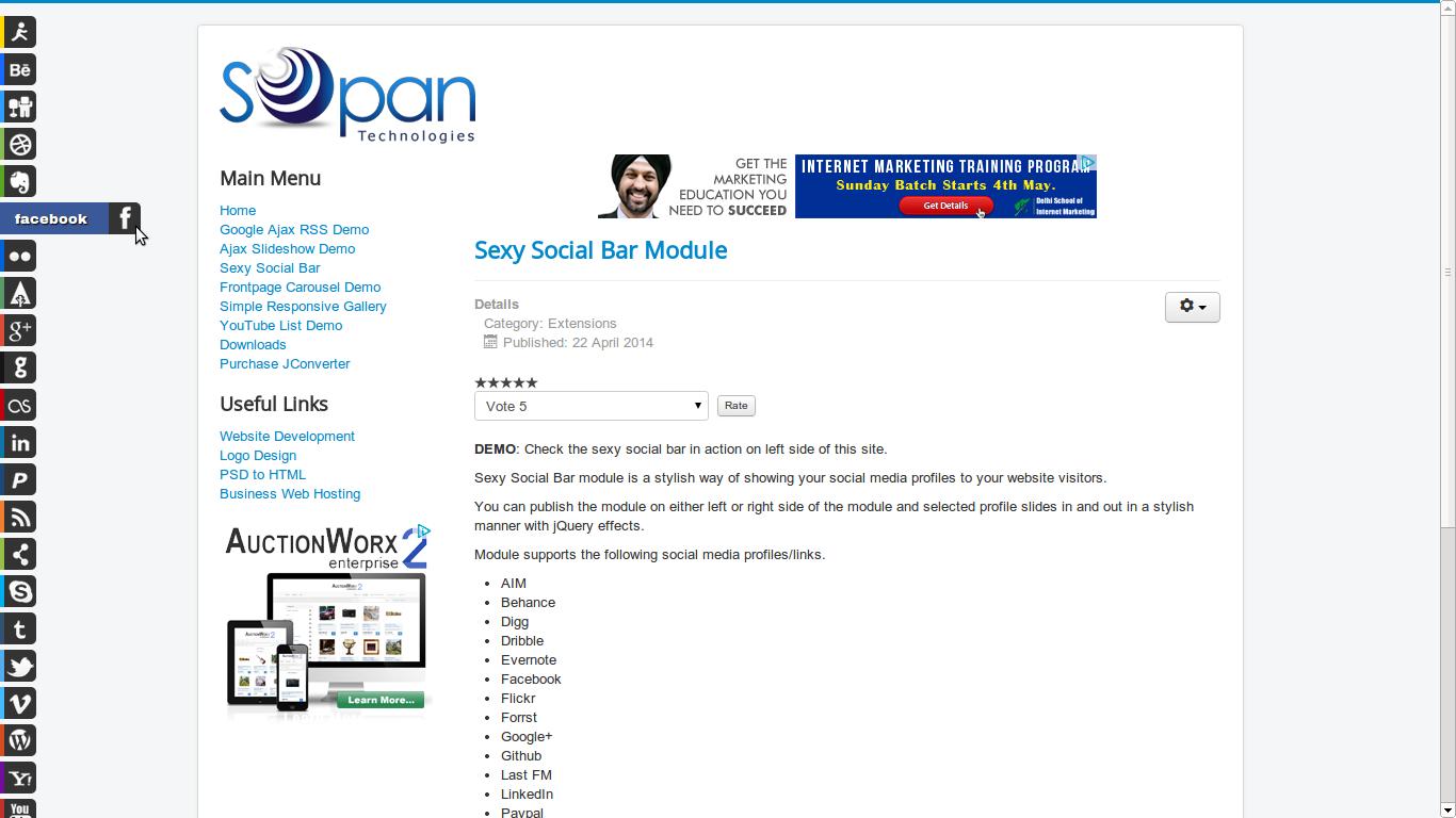 sexy social profile bar for joomla