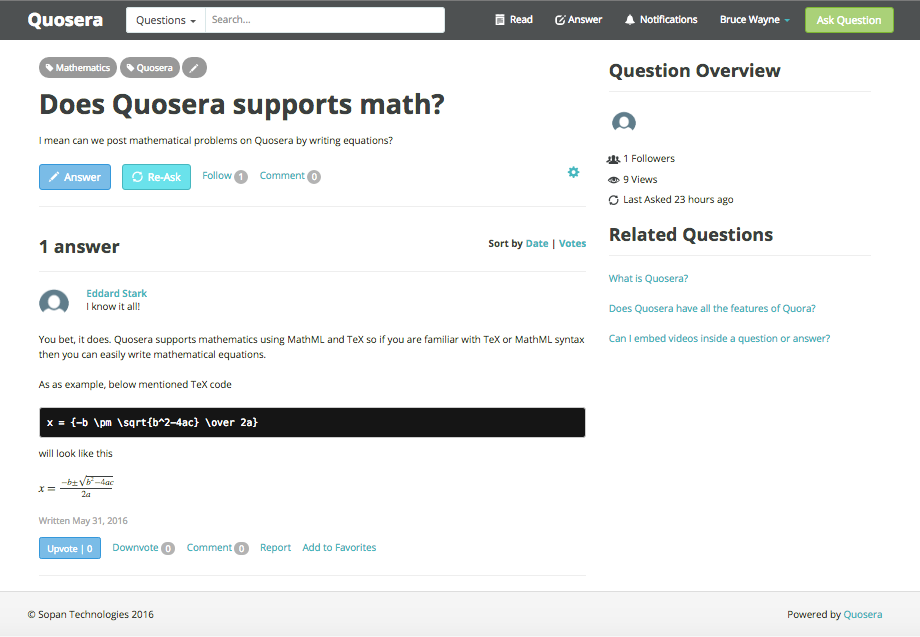 Quosera supports MathML and TeX